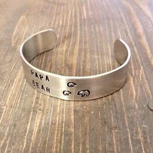 handmade Accessories - Hand stamped adjustable metal cuff bracelet